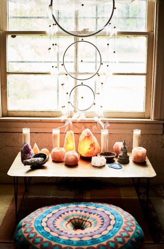 piedras cristales espacio meditacion