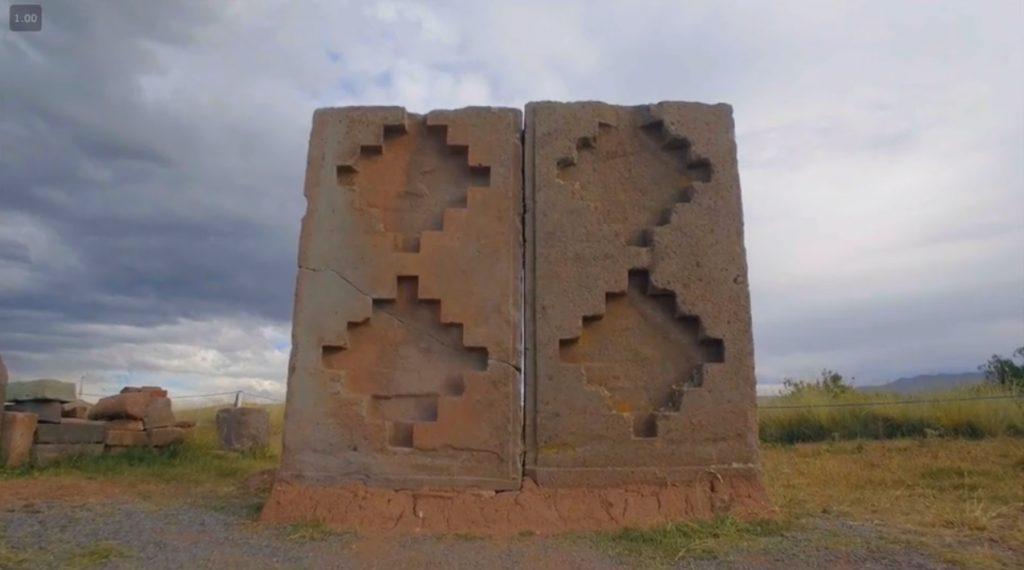 Formes géométriques dans la roche que l'on retrouve sur le plateau de nazca