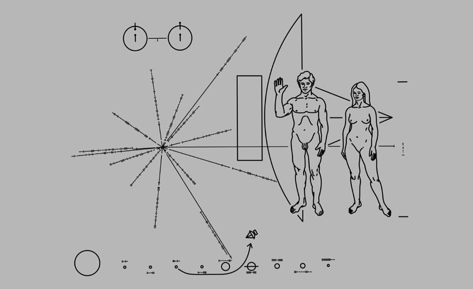 la plaque de métal de Carl Sagan envoyé dans l'espace
